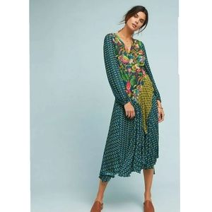New Anthropologie Delafossie Wrapped Dress Bl-nk